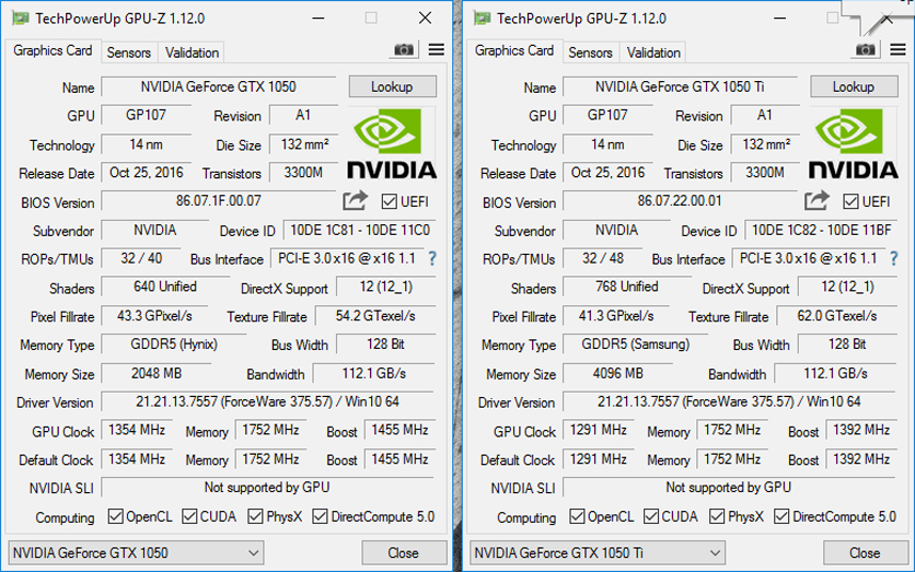 NVIDIA GeForce GTX 1050 и GTX 1050 Ti